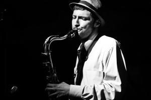 Elijah Balbed, saxophone on his first gig as bandleader
